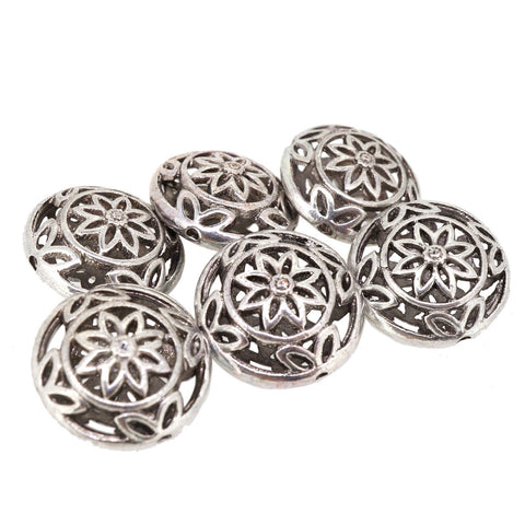 Hollow Alloy Beads for Jewelry Findings Making Bracelet Necklace Charm, Antique Silver, 17mm Flat Round, Pack of 6