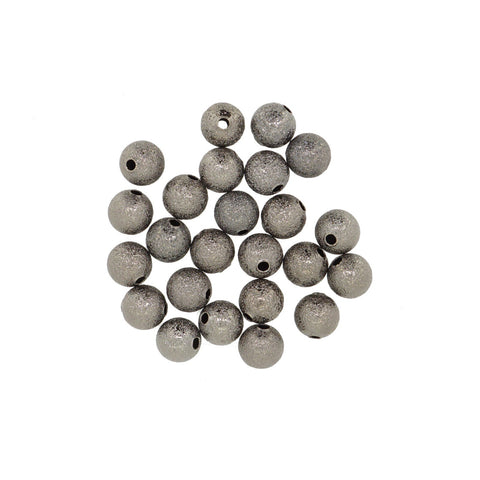 Black Stardust Brass beads, 8mm Round, for Bracelet Necklace DIY Jewelry Making