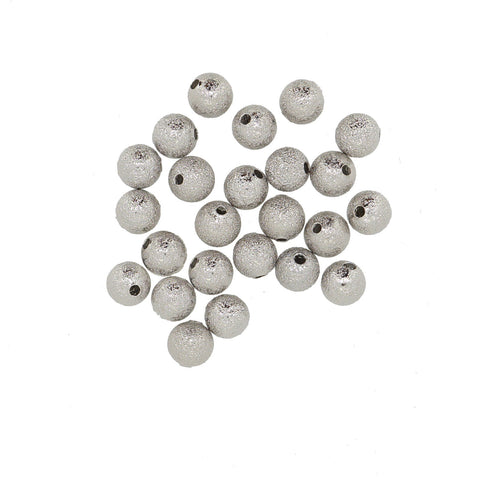 Silver Stardust Brass beads, 8mm Round, for Bracelet Necklace DIY Jewelry Making