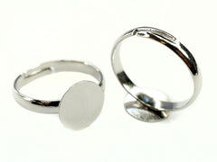 Ring Bases with Pad for Jewellery Making, Silver Tone