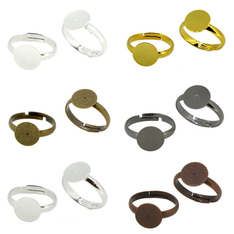 Metal Color Brass Ring Shanks Pad Jewelry Findings Adjustable Ring Pack of 12
