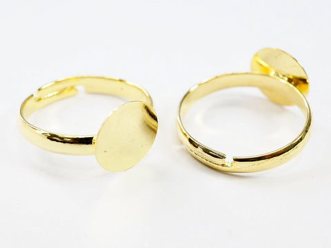 Ring Bases with 10mm Pad for Jewelry Making, Gold Tone