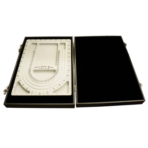 Black Bead Design Board Case Box w Plain Tray to Hold Jewelry tools and Supplies