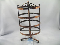 Copper Metal Display Stand for Stud, Dangle, Hoop Earrings, Rotatable, 4 Layer