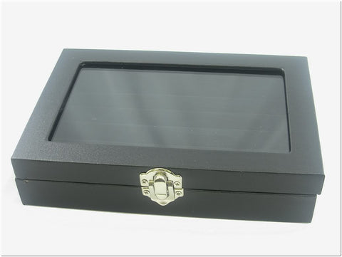Small Glass Top Lid Black Velvet Jewelry Display Box for Rings, 5 Continuous slots