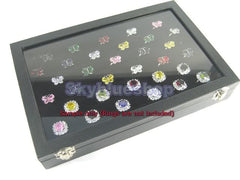Black Velvet Jewelry Display Box for Rings, 6 Continuous slots