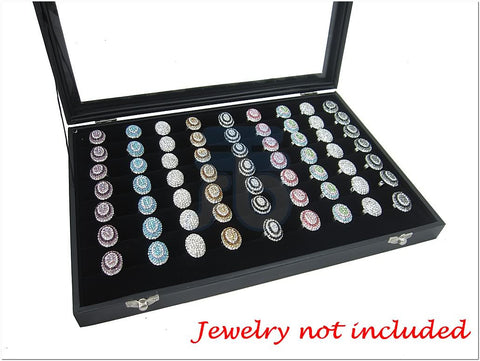 Black Velvet Liner Protable Ring Jewelry Utility Glass Top Display Box