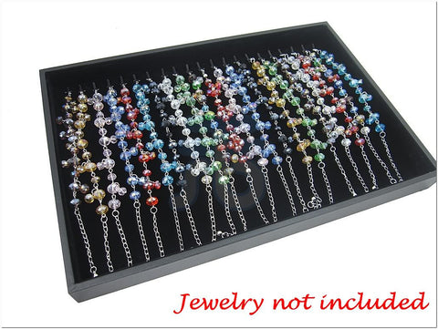 Black Velvet Liner Protable Jewelry Utility Display Case / Tray for Bracelet Necklace