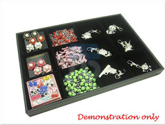 12 Compartment Jewelry Display Case / Tray, Black Color