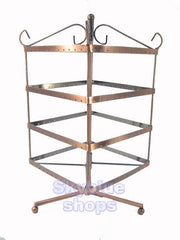 Copper Tone Square Rotatable Jewelry Display Stand for Stud Dangle Hoop Earrings, 4 Layer