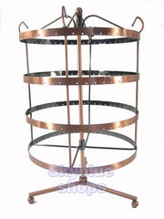 Copper Tone Round Rotatable Jewelry Display Stand for Stud Dangle Hoop Earrings, 4 Layer