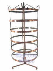Copper Tone Round Rotatable Jewelry Display Stand for Stud Dangle Hoop Earrings, 6 Layer