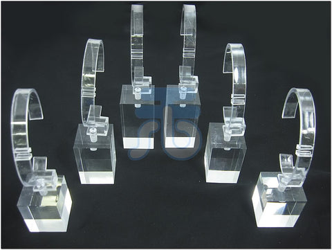 Clear Acrylic Jewelry Display Stand for Watch Bangle, 3 Height, Pack of 6