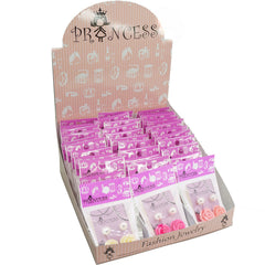 Color Rose n 10mm Faux Pearl Stud Earrings Fashion Jewelry Box Set, Set of 24 packs