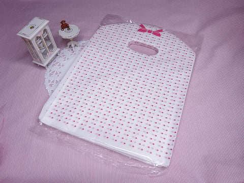 Wholesale Lot of 90 Pink Dot and Bow Tie Printed Plastic Shopping Bags (18x25cm)