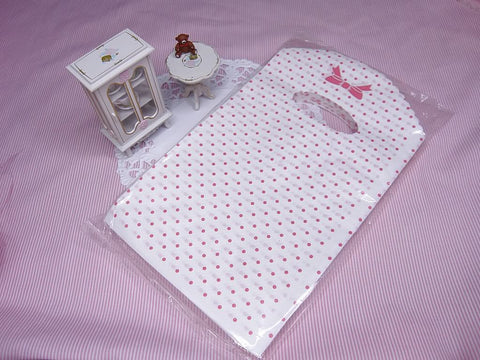 Wholesale Lot of 90 Pink Dot and Bow Tie Printed Plastic Shopping Bags (12x20cm)