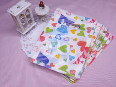 Wholesale Lot of 90 Color Heart Pattern Plastic Shopping Bags for Packaging (10x14cm)