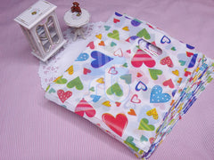 Wholesale Lot of 90 Color Heart Pattern Plastic Shopping Bags for Packaging (13x17cm)
