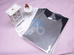 Wholesale Lot of 90 Silver Metallic Plastic Shopping Bags for Packaging (10x15cm)