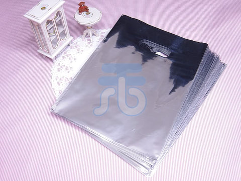 Wholesale Lot of 90 Silver Metallic Plastic Shopping Bags for Packaging (13x17cm)