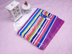 Wholesale Lot of 90 Color Stripe Plastic Shopping Bags for Packaging (10x15cm)