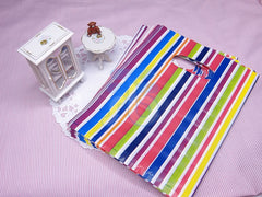 Wholesale Lot of 90 Color Stripe Plastic Shopping Bags for Packaging (13x17cm)
