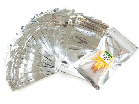 Pack of 95 Silver Ziplock Retail Packaging Bags 7x13cm