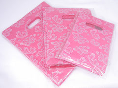 Wholesale Lot of 270 Pink Butterfly Retail Shopping Plastic Bags, 3 Sizes