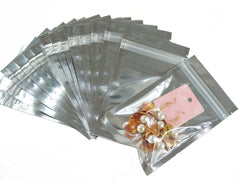 Pack of 95 Silver Ziplock Retail Packaging Bags 8.5x14cm