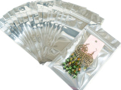 Pack of 95 Silver Ziplock Retail Packaging Bags 9x16cm