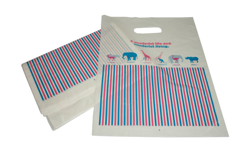 Animal Strip Merchandise Shopping Bags, Retail Shop Flea Market 25x35cm Pack of 40