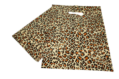 Leopard Pattern Merchandise Shopping Bags, Retail Shop Flea Market 25x35cm Pack of 40
