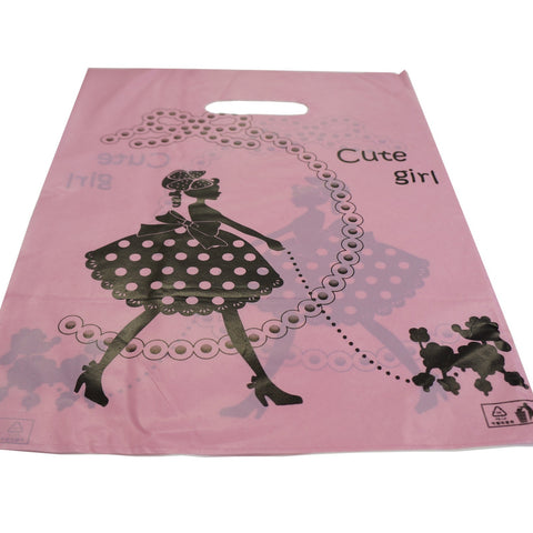30x40cm Pink Cute Girl Plastic Merchandise Retail Bags w Die-cut handle, Pack of 40, Shop Equipment