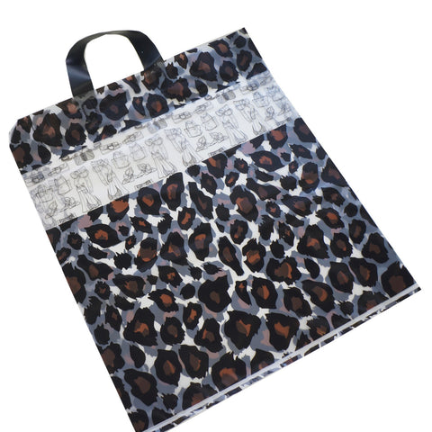 Wholesale Lot of 50 Leopard Print Frosted Plastic Shopping Merchandise Bags with Handles, 45x39x8cm