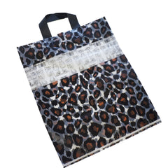 Wholesale Lot of 50 Leopard Print Frosted Plastic Shopping Merchandise Bags with Handles, 40x32x8cm