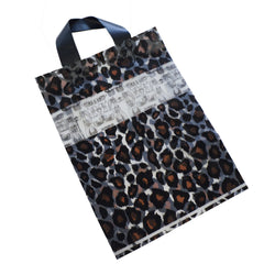 Wholesale Lot of 50 Leopard Print Frosted Plastic Shopping Merchandise Bags with Handles, 35x25x8cm