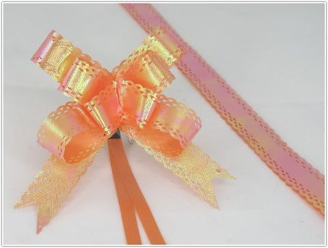 Pack of 10 Orange Color Pull String Ribbon Bows Ideas for Decorative Gift Packing Wrapping