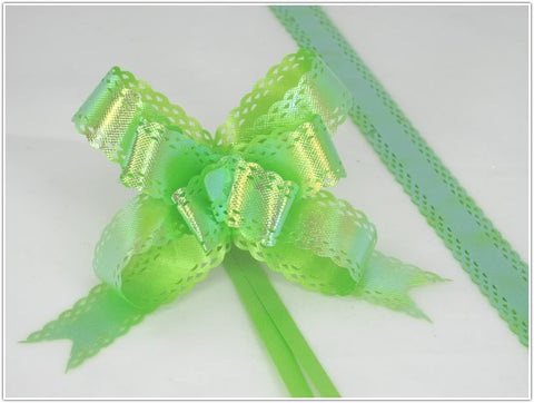 Pack of 10 Green Color Pull String Ribbon Bows Ideas for Decorative Gift Packing Wrapping