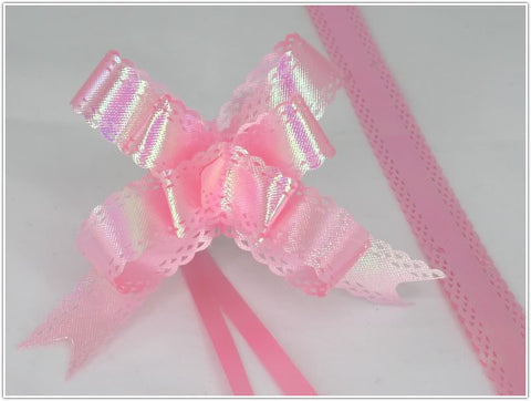 Pack of 10 Pink Color Pull String Ribbon Bows Ideas for Decorative Gift Packing Wrapping