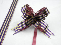 Pack of 10 Purple/gold Strip Pull String Ribbon Bows Ideas for Decorative Gift Packing Wrapping