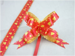 Pack of 10 Red Heart Pull String Ribbon Bows Ideas for Decorative Gift Packing Wrapping