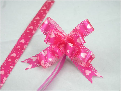 Pack of 10 Fuchsia Heart Pull String Ribbon Bows Ideas for Decorative Gift Packing Wrapping