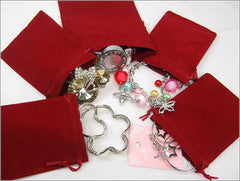 Wholesale Lot of 100 Burgundy Velvet Pouches with Drawstring for Jewelry Gift Bags