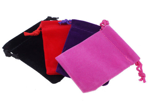 Small Velvet Pouches with Drawstring for Jewelry Gift Bags - 4 Colors (5x7cm)