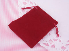 Burgundy Velvet Gift Pouches Bags w drawstring for Jewelry, 5x7cm Lot of 8