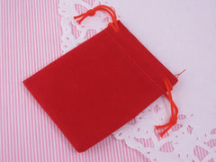 Small Red Velvet Gift Pouches Bags w drawstring for Jewelry, Wholesale Lot of 8