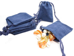 Small Blue Velvet Gift Pouches Bags w drawstring for Jewelry, Wholesale Lot of 8