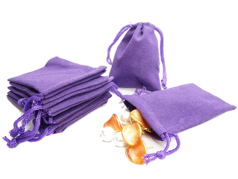Small Purple Velvet Gift Pouches Bags w drawstring for Jewelry, Wholesale Lot of 8