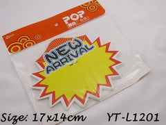 New Arrival Advertising POP Paper Cards, Pack of 10 Pcs, 17x14cm