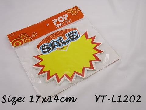 Sale Advertising POP Paper Cards, Pack of 10 Pcs, 17x14cm
